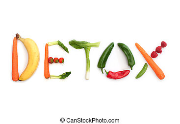 Detox concept - Detox spelt using fruits and vegetables