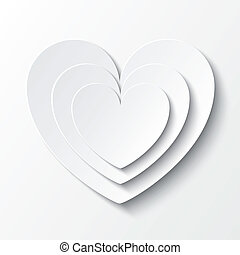 Paper heart Valentines day card on white.
