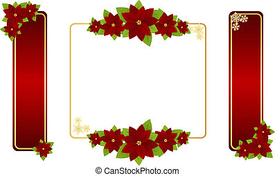 Christmas frames - Christmas red frames with poinsettia and...