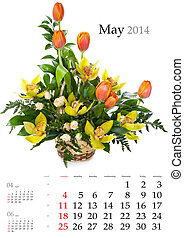 2014 Calendar. May. Bright flower bouquet on white...