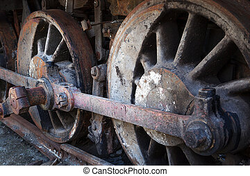 rusty wheels of old steam locomotive