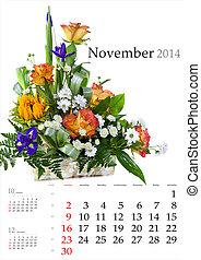 2014 Calendar. November. Bright flower bouquet on white...