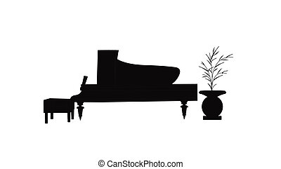 baby grand piano in silhouette - grand piano in silhouette