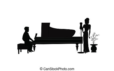 female singer with piano player - silhouette of female...