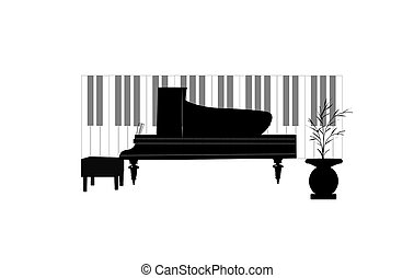 piano concept with keys - baby grand piano with keys in...
