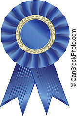 Blue ribbon award Isolated on white background - vector...