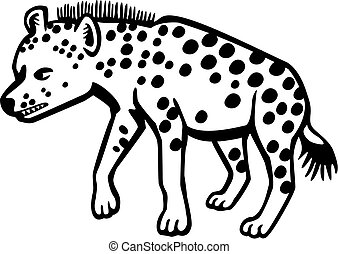 Hyena - vector drawing of a spotted hyena showing its teeth