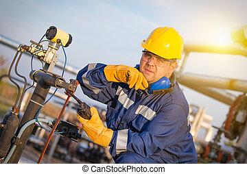 aceite, trabajadores