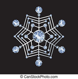 Diamond Snowflake - snowflake made of diamonds isolated on...