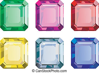 Gems - colored gems on white background
