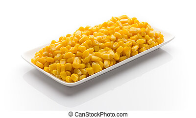 Stack of sweetcorn kernels.
