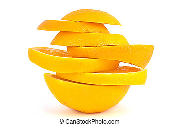 Pieces of the orange. - Slices of orange isolated on white...