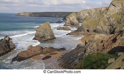 Bedruthan Steps Cornwall attraction - Carnewas and Bedruthan...