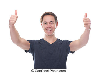 Portrait of a smiling man with thumbs up