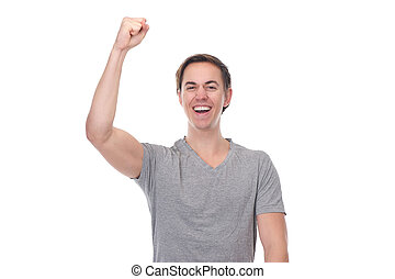 Close up portrait of a man with arm raised up in celebration