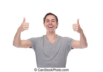 Portrait of a cheerful man smiling with thumbs up
