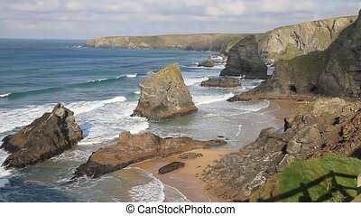 Bedruthan Steps Cornwall England UK - Bedruthan Steps on the...