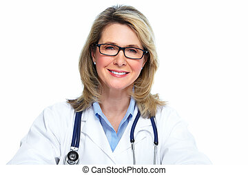 Smiling mature doctor woman. Isolated over white background.