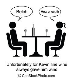 Windy - Kevin could not handle his wine cartoon isolated on...