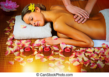 Beautiful woman having massage - Beautiful woman having...