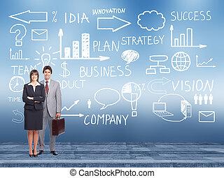 Business team standing near Innovation plan. - Businessman...