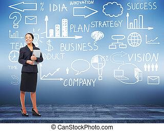 Business woman standing near Innovation plan. Success...