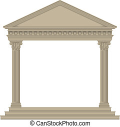 RomanGreek Temple with Corinthian columns, high detailed