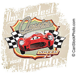 vintage sport car vector for T-shirt printed and poster