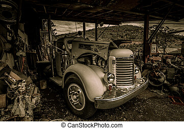 Truck Jerome Arizona Ghost Town mine and old cars
