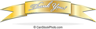 Thank you banner - Gold banner with silver Thank You text