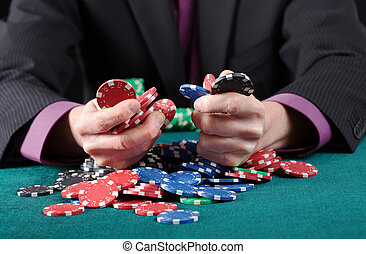 Gambler in game - Gambler in poker game, holding colorful...