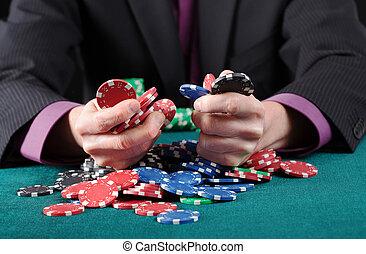 Gambler in game - Gambler in poker game, holding colorful...