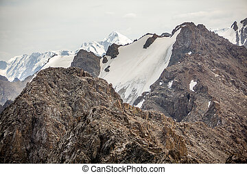 Landscape of rocky TIen Shan mountains. Kirgizstan
