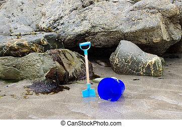 Childs bucket and spade on a beach