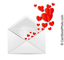 Valentine`s Day Card with Envelope and Heart Vector...