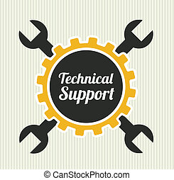 technical support over  background vector illustration