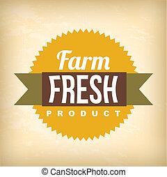 farm fresh label over   background vector illustration