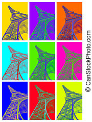 Eiffel tower abstract vibration in 9 colors.