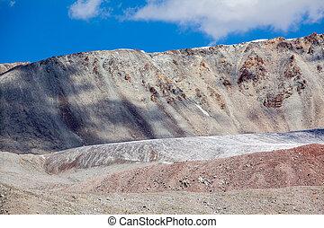 Ice glacier in colored mountains. Tien Shan, Kyrgyzstan