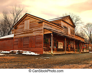 old time store - rustic old time country store in winter