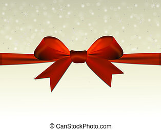Shiny beige background with red bow