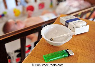 Smoking near children concept photo - Smoking near children,...