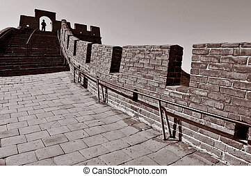 Great Wall of China - BEIJING - MARCH 10:Visitor walks on...