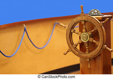 helm wheel and compass - Colorful deck with wheel, compass...