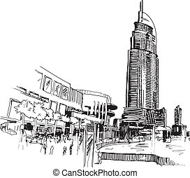 Urban view sketcy drawing vector illustration with modern...