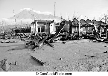 Houses Damaged by Pyroclastic - Village damaged by natural...