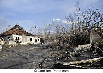 Village Damaged by Natural Disaster - Village damaged by...