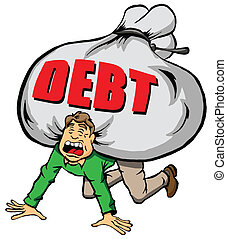 Too Much Debt. - Cartoon Image of Someone Being Weighed Down...