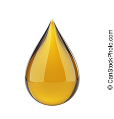 Oil drop on white isolated with clipping path