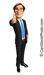 Business man with best luck sign - 3d rendered illustration...